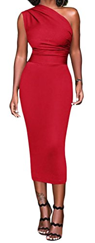 Grande Tang Une Robe Sans Manches Womens Midi Cocktail Club Sexy Moulante Épaule Rouge