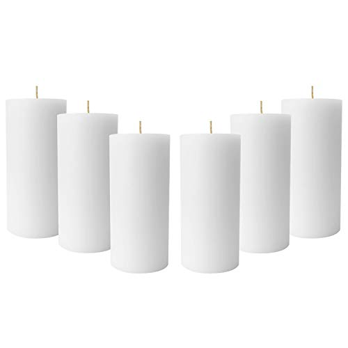 Simply Soson 3 x 6 Inch White Unscented Pillar Candle Bulk Set - Dripless, Scent Free Paraffin Wax Candle Pillars - Medium Size Wedding or Home No Drip Candles - 6 Pack (Best Unscented Pillar Candles)