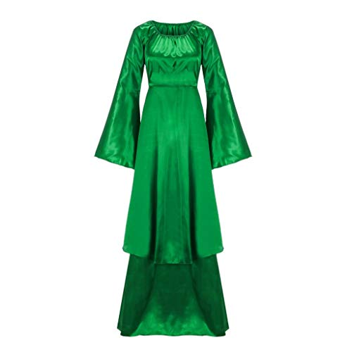 Clearance Renaissance Dress,Forthery Irish Medieval Dress for Women Plus Size Long Dresses Lace up Costumes Retro Gown(Green,XL)]()