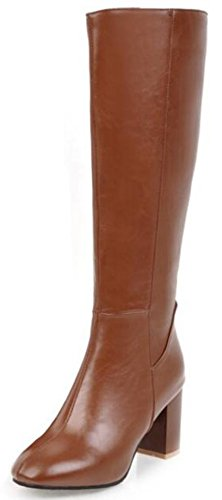 IDIFU Women's Sexy Mid Chunky Heels Round Toe Full Zip Knee High Boots Long Riding Booties (Brown, 9 B(M) US)
