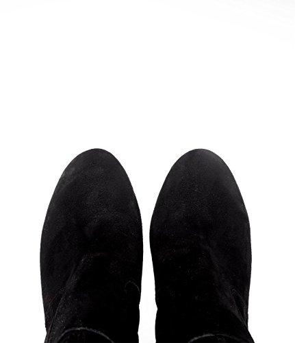 PoiLei Plateau Langschaft-Stiefel Damen Luisa Velours-Leder schwarz