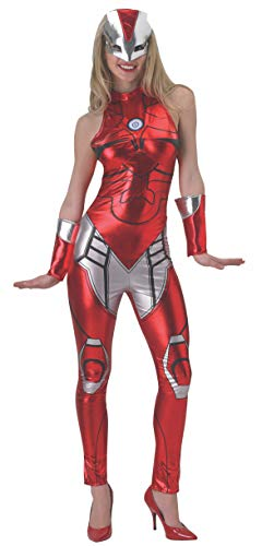 Secret Wishes Women's Marvel Universe Iron Man Secret Wishes Rescue Costume Cat Suit and Mask, Multicolor, Large ()