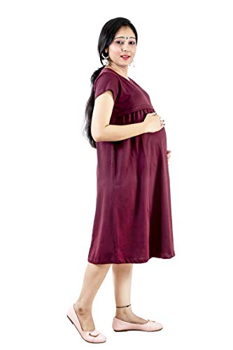 3 in 1 Maternity Knee Length Casual,Pregnancy,Labor Breastfeeding Mini Dress for Women (Wine)