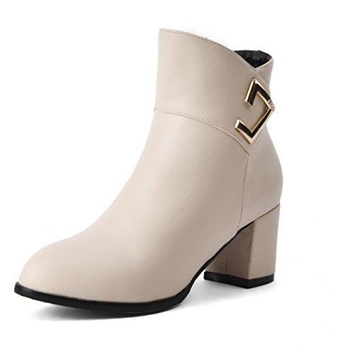 Kitten PU Top Beige WeenFashion Boots Zipper Heels Women's Solid Low 4gx4w5YHq