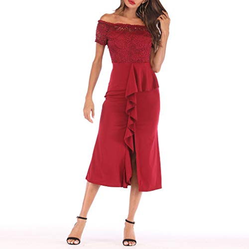 One Shoulder Lace,Youngh Fashion Women One Shoulder Lace Splice Off Shouder Casual Long Dress Red by Youngh Dress (Image #5)