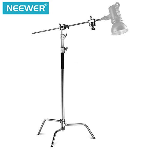 Neewer Pro 100% Stainless Steel Heavy Duty C Stand with Boom Arm - Max Height 11ft/331cm Photography Light Stand with 4ft/120cm Holding Arm, 2 Grip Head for Studio Monolight, Softbox, Reflector