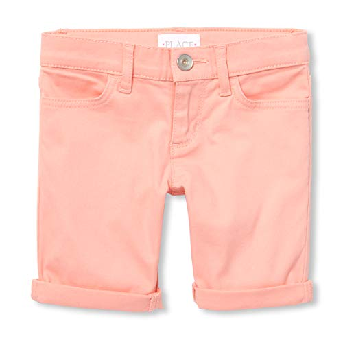 The Children's Place Girls' Big Solid Basic Denim Skimmer Shorts, Pink Abalone, 10