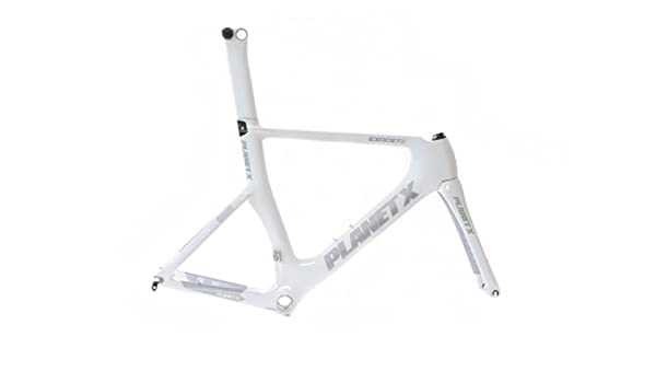 Planet X Exocet 2 Carbon TT Frame And Fork - White - Large: Amazon ...