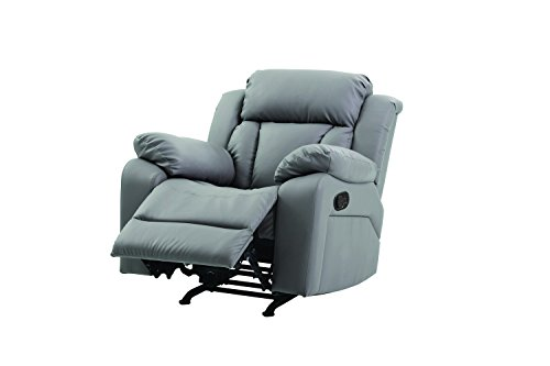 Glory Furniture G681-RC Rocker Recliner, Gray Faux Leather