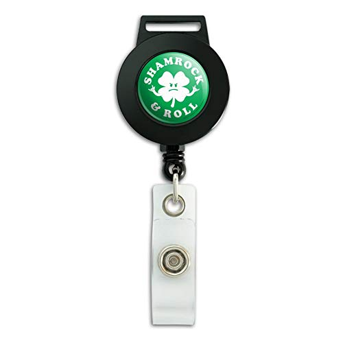 Shamrock and Roll Irish Rock Funny Humor Lanyard Retractable Reel Badge ID Card ()