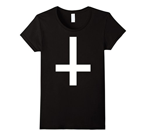 Womens Anti-Christ cross T-Shirt Medium Black