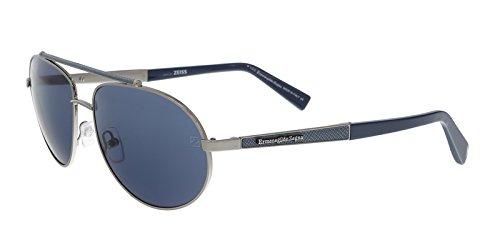 Ermenegildo Zegna EZ0037/S 12V Blue/Silver Aviator - Zegna Sunglasses