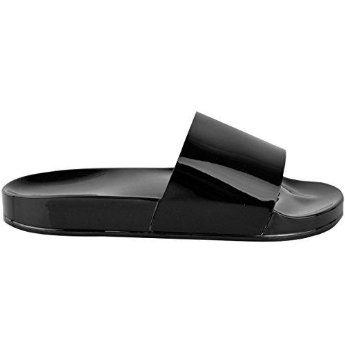 Mode Törstig Kvinna Sommar Reglagen Sandaler Platta Plattform Flip Flop Halka På Storlek Svart Patent