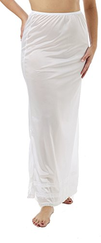 Underworks Nylon Maxi Length Half Slips with Snip a Length White Large (White Nylon Half Slip)