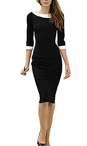 Minetom Damen Cocktailkleid Peter Pan Bleistiftkleid Business Klub ...
