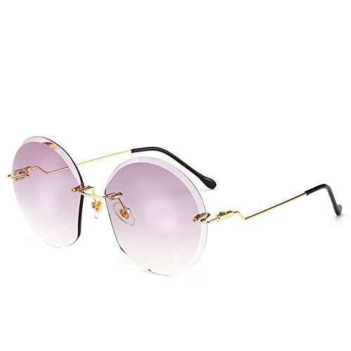 Runde Rahmenlose Sonnenbrille Damen Marke Designer Retro Mode Gradienten Sonnenbrille Neue Mode Frauen Brille Geschenke UV - (Lenses Color: 5605-7) (Sonnenbrille Für Brille)