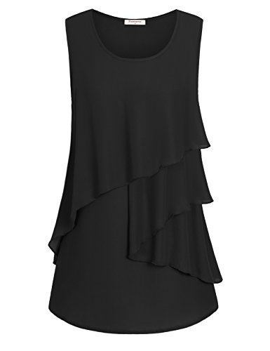 Nomorer Chiffon Tank Tops for Women, Layered Front Pleat Loose Fitting Tops Sleeveless Blouse with Ruffles (Black, L) Black Ruffle Front Shirt