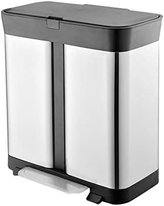 ゴミ袋 ゴミ箱用アクセサリ ステンレス鋼のゴミ箱の大きい屋外のゴミ箱、環境に優しい二重バレルのゴミ箱 キッチンゴミ箱 (Color : With cover, サイズ : 60L)