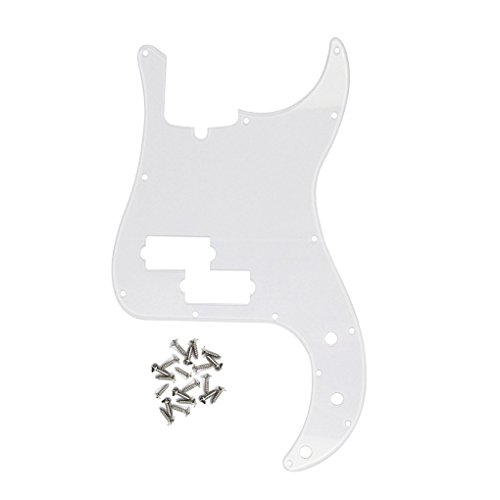 (IKN 1-Ply Transparent Acrylic P Bass Pickguard 13 Hole Pick Guard Plate w/Screws for 4 String American/Mexican Standard Precision Bass Part)