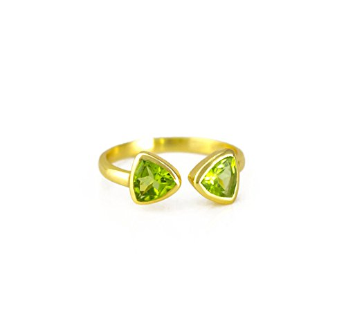 - SPARKLER JEWELS Peridot Quartz,8mm Triangle,925 Sterling Silver,Unique Bezel Ring,Gemstone Rings,Business Gifts