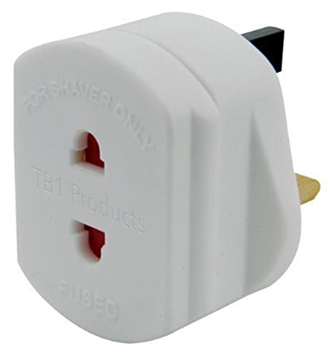 UK 2 to 3 Pin Fuse Adaptor Plug 1 Amp For Shavers And Toothbrushes Only