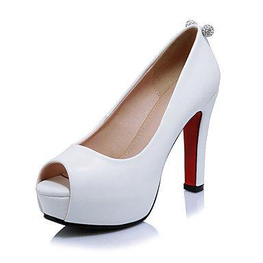 Talones de las mujeres Primavera Verano Otoño Club de los zapatos de microfibra oficina y carrera del partido y vestido de noche tacón grueso del Rhinestone Negro Rojo Blanco Red