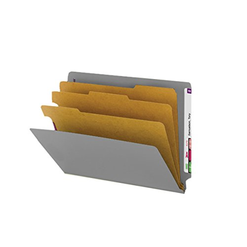 SMEAD ETC400-3D-GY End Tab Folder, FAS #1 and #3, 25Pt Pressboard, 3 Dividers, 3