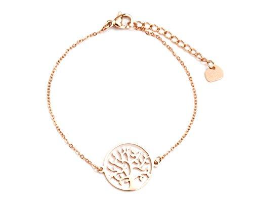 BC2145F - Bracelet Fine Chaîne avec Charm Cercle Arbre de Vie Acier Or Rose