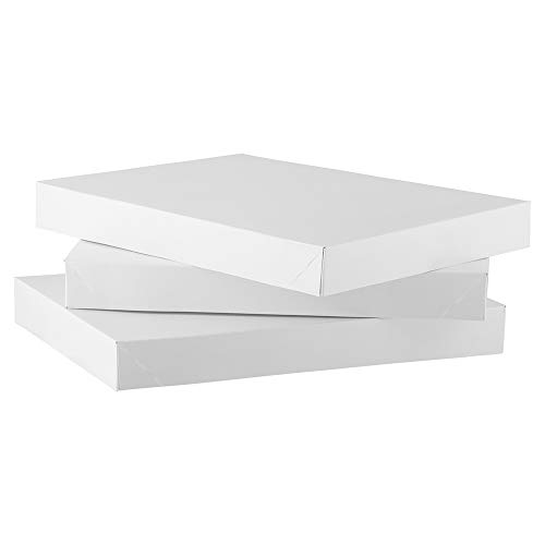 JAM PAPER Small Gift Boxes - 10 7/8 x 7 7/8 x 1 1/4 - White - 3/Pack (Jam Paper Gift Box)