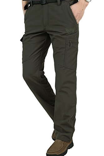 Yollmart Men's Fleece Lined Waterproof Outdoor Pockets Military Cargo Pant -green-4XL