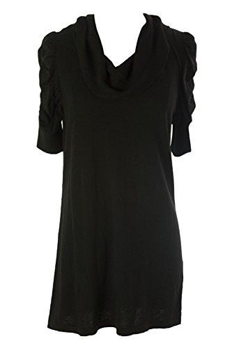 August Silk Women's Ruched Sleeve Cowl Neck Tunic Sweater Medium Black