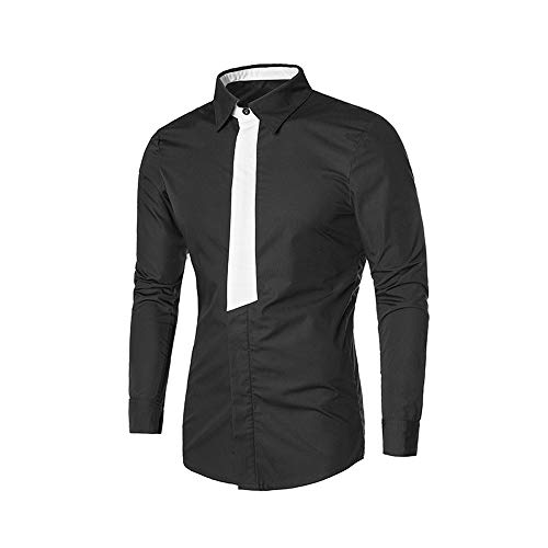 Mens Shirts clearance,NRUTUP Mens Shirts long Sleeve Casual Button Turn-down Collar Shirt Top Uniforms, Work & Safety(Black,XS) from NRUTUP