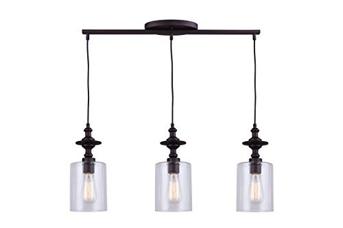CANARM IPL586A03ORB York 3 Light Cord Pendant with Clear Glass, Oil Rubbed Bronze
