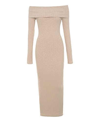 UONBOX Women's Fall Winter Biscuit Ribbed Off Shoulder Knit Midi Dress for Cocktail Party Nude S