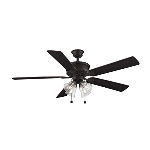Scholar 60-in Antique Bronze Accent Downrod Mount Indoor Ceiling Fan with Light Kit