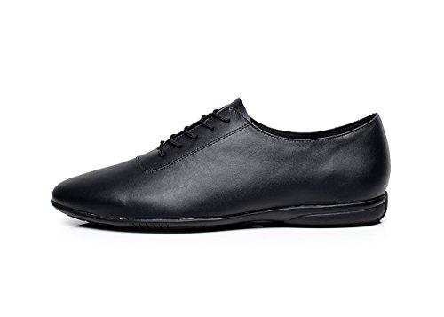 Minishion Qj9016 Hommes Élégant En Cuir Salle De Bal Latin Tango Salsa Chaussures De Danse Noir