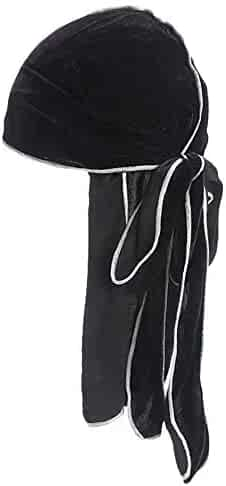 09931737520433 ANJUNIE Unisex Hairband Long Tail Pirate Hat Hip hop Turban Cool Cap Hood  Headwear Velvet Durag