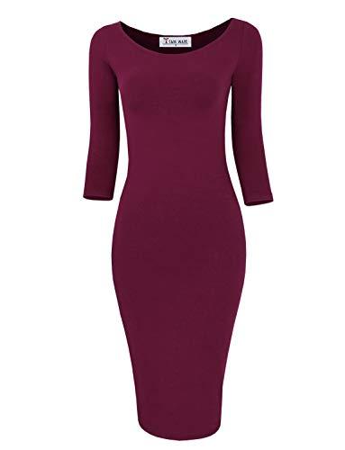 TAM WARE Womens Classic Slim Fit Bodycon Midi Dress TWCWD059-WINE-US M