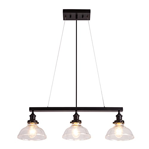 YIFI Pendant Light Farmhouse Industrial Light Glass Adjustable Three Light Fixture Hanging Pendant Light for Kitchen Island Bedroom Living Room Dining Room, Clear
