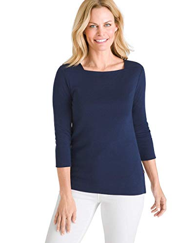 Chico's Women's Supima Cotton Side-Button Bateau-Neck Top Size 16/18 XL (3) Blue (Clothing Apparel)
