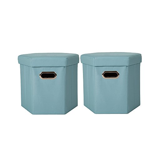 Glitzhome Foldable Oxford Hexahedron Storage Ottomans With Padded Seat Aqua, Set Of 2