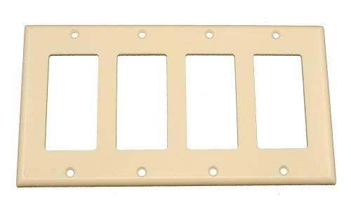 - Leviton 80412-T 4-Gang Decora/GFCI Device Wallplate, Standard Size, Thermoset, Device Mount, Light Almond
