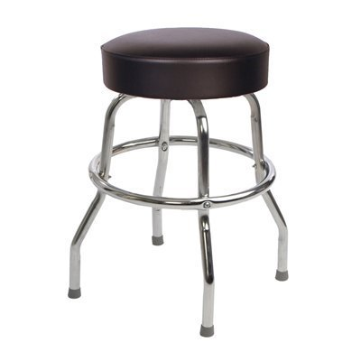 Richardson Seating Retro 1950s Backless Swivel Bar Stool with Black Seat - 24''