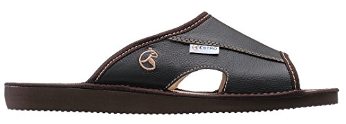 Estro Mens Slippers Men House Shoes Leather Home Mule Men's Slipper Memory Sole Verano Chocolate 3FyEmhoi