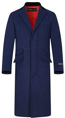 eef7e021d2429 Mens Navy Blue Wool   Cashmere Covert Overcoat Warm Winter Mod Cromby Coat  Velvet Collar