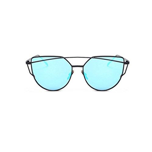 Winwintom gato de Mujer de Twin vigas ojo Moda gafas de de Color gafas Espejo sol metal A Marco AAwfRqr