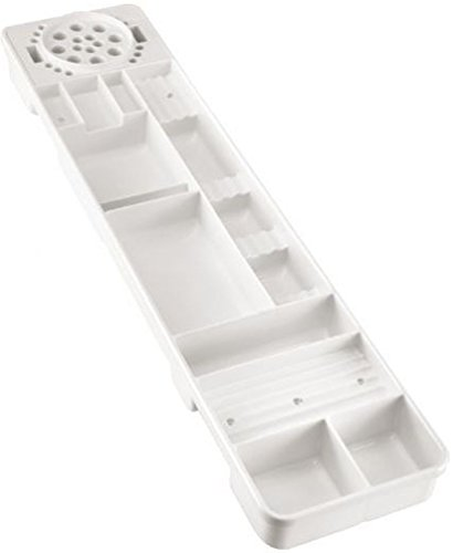 (Alvin Tt599-1 White Table and Desktop Storage Tray, Made From Sturdy Molded Abs High-impact Plastic, Special Compartments For Scissors and Items Up To 15