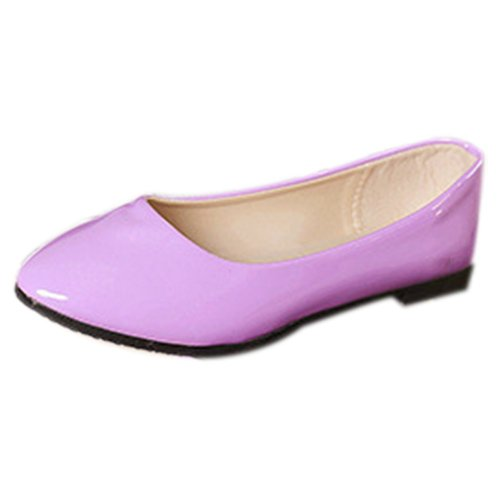 Womens Flat Shoes New Womens Ladies Flat Ballerina Ballet Casual Loafers Slip on Pumps Shoes Purple 40 R TOOGOO