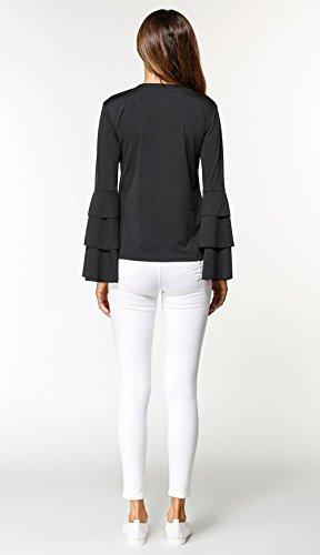 Shirts Col Blouse T Tops Printemps Casual Sweat Shirts Femmes Mode Chemisiers Tee Flare Couleur Rond Unie Automne Slim Sleeve Noir Hauts Pulls et vPqRXv