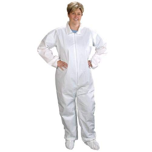 Image of Alpha Pro Tech Critical Cover CV-J4C92-2 ComforTech Coveralls, Elastic Hood, Wrist and Ankle, AquaTrak Boots, Serged Seams, White, M Size (Case of 25) Basic Cases